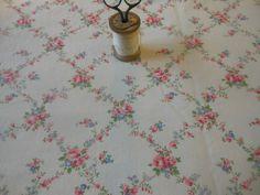 Antique Vintage French Roses Trellis Cotton Fabric  ~ Pink  Periwinkle Blue