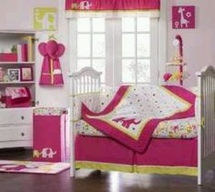 Pink Elephant Baby bedding available at Amazon