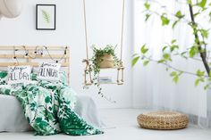 Boho Home Decor Ideas on a Budget. Boho Home Design. Bohemian Living and Home. Modern Boho Home Style Decor, Trendy Bedroom, House Design, Textured Throw Pillows, White Curtains, Bedroom, Home Decor, Room, Room Decor