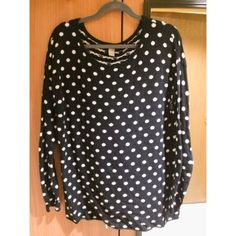 B&W Polka-dot Sweater Cute and comfy black and white sweater. Made from cotton, polyester and angora. This sweater has some pilling on the front and under the arms. This is visible in the second and third photos. H&M Sweaters Crew & Scoop Necks