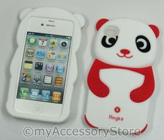 iPhone 4 4S Cute Panda Bear Red Silicone Protector Soft Skin Phone Case Cover | eBay