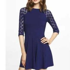 DOTTED MESH RAGLAN SLEEVE SKATER DRESS This Skater Dress is so cute!! Worn for work and out! Perfect Condition! Express Dresses