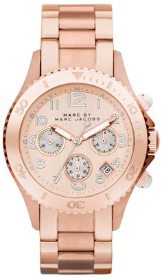 Marc by Marc Jacobs Watch, Women's Chronograph Rose Gold Ion Plated Stainless Steel Bracelet - Women's Watches - Jewelry & Watches - Macy's Marc Jacobs Uhr, Marc Jacobs Watch, Stylish Watches, Cool Watches, Women's Watches, Ladies Watches, Rock Watch, Men Watch, Jewelry Accessories