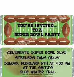 The Candy Bar Wrapper - Football Candy Wrapper, $0.87 (http://www.thecandybarwrapper.com/football-candy-wrapper.html)  Cute football party invitation idea!