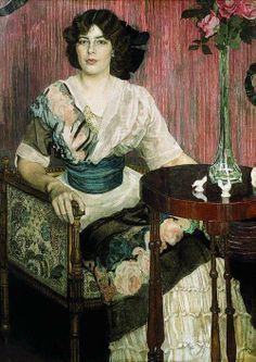 Aleksandr Golovin - Portrait of the Singer Valentina Kuza, 1900's Alexander Golovin oil paintings Portrait of singer Valentina (Euphrosyne) Ivanovna Cuza.