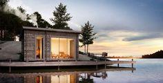 Vi i Villa gillar bastu Sauna Design, Cabin Design, Small Cottages, Summer Dream, Tiny House Plans, Prefab, Architecture Design, Villa, House Styles
