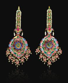 A pair of large Qajar gold, enamelled and jewelled earrings/hair pendants, Persia, 19th century | lot | Sotheby's