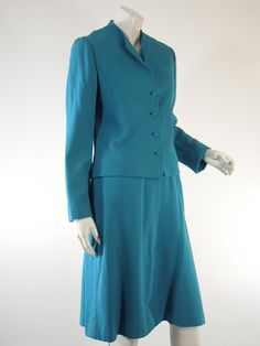70s Teal Blue Skirt Suit by Doncaster