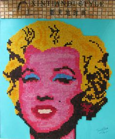 Marilyn Monroe portrait made from painted toast by M. Bennett   | This image first pinned to Marilyn Monroe Art board, here: http://pinterest.com/fairbanksgrafix/marilyn-monroe-art/ || #Art #MarilynMonroe