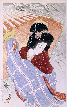 Second series of Modern Beauties: Snowstorm , by Ito Shinsui, 1932