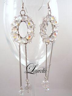 Aurora borealis glass earrings  silver plated by Laurelisbijoux, $19.90