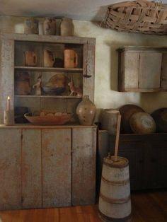 Stepback Cupboard and Butter Churn Primitive Homes, Primitive Kitchen Decor, Prim Decor, Primitive Furniture, Primitive Antiques, Country Primitive, Country Decor, Rustic Decor, Country Homes
