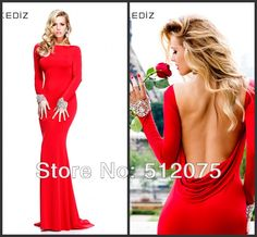 New Arrival Boat Neck Mermaid Crystals Open Back Full Sleeves Prom Dresses Long Evening Gowns 2014