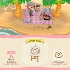 Animal Crossing New Horizons creations & qr codes — got any designs for drawings/decorations in the. Animal Crossing 3ds, Animal Crossing Qr Codes Clothes, Llamas Animal, My Animal, Sand Drawing, Beach Drawing, Motif Acnl, Felt Fish, Wild Animals Photos