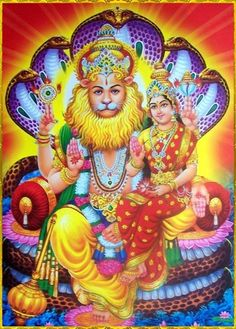 """SHRI LAKSHMI NARASIMHA ॐ """"O all-powerful, ocean of mercy, cast Your glance upon me. I am bewildered, helplessly sinking in the sea of samsara. You descended to remove the distress of your devotee. Krishna Statue, Lord Krishna, Lord Shiva, Ganesh Lord, Krishna Radha, Lakshmi Images, Hanuman Images, Durga Images, Avatar"""