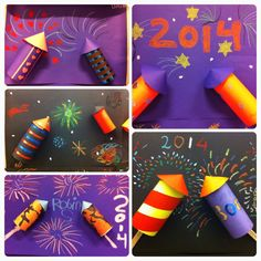 Vuurwerk knutsel met wc-rolletjes en wasco. Groep 6 | basisonderwijs | gelukkig nieuwjaar | happy new year! | firework craft primary school | knutselen met kinderen! New Year's Crafts, July Crafts, Crafts For Kids To Make, Art For Kids, Paper Crafts, Fireworks Craft For Kids, Fourth Of July, Firework Painting, Christmas
