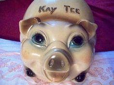 "Silvestri Bros 1962  #Chalkware ""KAY TEE""  Piggy Bank  1 family Pig!  12 pictures! #SilvestriBros #piggybank  #60s"