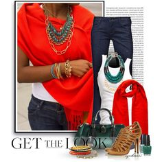 """""""Get the Look: Red Scarf"""" Diva Fashion, Denim Fashion, Cute Fashion, Chic Outfits, Fashion Outfits, Fashion Tips, Polyvore Outfits, Polyvore Fashion, Types Of Fashion Styles"""