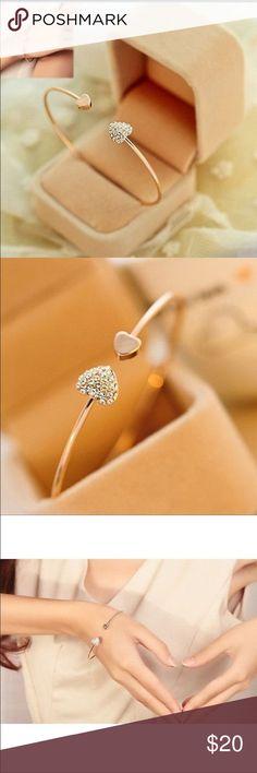 Gold heart bracelet Gold heart bangle bracelet with rhinestones. Brand new! Jewelry Bracelets