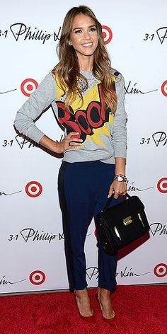 JESSICA ALBA in Phillip Lim for Target Sweatshirt and navy tuxedo pants. love this look! I think I want Jess' closet too...lol