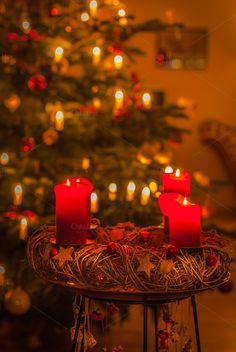 Christmas Day by ChristianThür Photography on Creative Market Pillar Candles, Christian, Table Decorations, Day, Creative, Photography, Beautiful, Home Decor, Photograph