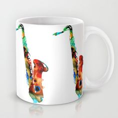Colorful Saxophone By Sharon Cummings Mug #coffeemugs