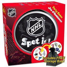 Spot It! Hockey NHL Version with FREE storage bag! Blue Orange