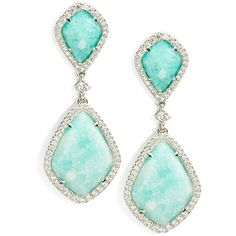 Nadri Amazonite and Sterling Silver Teardrop Earrings ($298) ❤ liked on Polyvore featuring jewelry, earrings, orecchini, blue, sterling silver jewellery, blue earrings, sparkly earrings, teardrop shaped earrings and sparkle jewelry