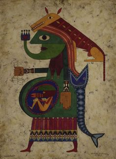 "Victor Brauner, ""Acolo"", encaustic and collage on paper on board, 1949. The Art Institute of Chicago."