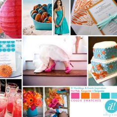 Hot Pink, Tangerine & Turquoise