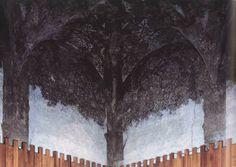 Leonardo,  Sala delle asse nel. Fresco  ca. 1498 Let op slechte afbeelding. Na het laatste Avondmaal schilderde da Vinci een naturalistische illusie. Het schilderwerk past perfect in het skelet van het bouwwerk en geeft het plafond een illusie van bomen, bladeren en wortels.