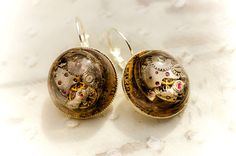 Mechanical Small earrings tiny watch vintage parts resin