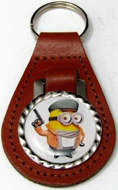 Minions Dave Secret Agent Brown Leather Key Fob Chain Steel Ring FOB-0239