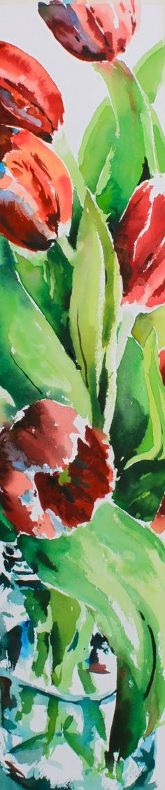 "Simone Ritter, ""Spring Tulips""   watercolour / aquarelle  29x6in / 73x15cm"