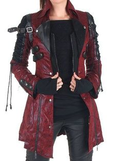 Plus size Long Sleeve Leather Outerwear # Type:Long SleeveMaterial:Faux Gothic Fashion, Unique Fashion, Emo Fashion, Style Fashion, Steampunk Fashion, Steampunk Coat, Steampunk Necklace, Gothic Steampunk, Latex Fashion