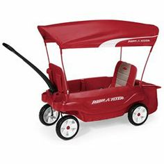 The Radio Flyer Ultimate Comfort Wagon has padded seats with storage pockets and is the most versatile wagon with patent pending 5 way flip and fold seat. The wagon features 3 ways to use the sitting space; 2 seats for children or one child can sit in the wagon and store items in the other side or one child in the seat with the tray table and storage area. The seats also fold flat for a flatbed wagon. The UV protection canopy removes in seconds with quick clip attachment system. The wagon…