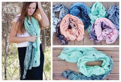 "Perfect for Spring, these Lovely Scarves feature a Delicate Pattern of Birds & Branches. 72""x 48""— In 6 Beautiful Pastel Colors! $4.97 each!..."