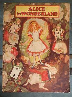 """Vintage 1930 """"Alice in Wonderland"""" Soft Cover Book  """