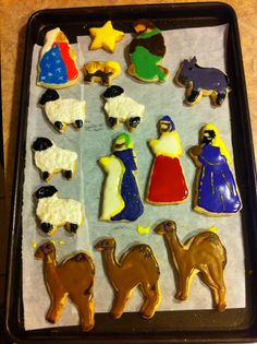 Christmas cookie nativity before assembly.