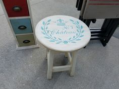 Annie Sloan painted stool.