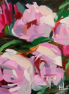 "Daily Paintworks - ""Pink Peonies no. 7 Painting"" - Original Fine Art for Sale - © Angela Moulton"