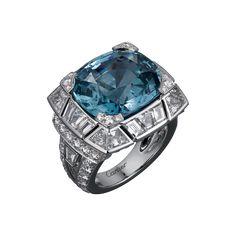 Cartier Royal Ring, platinum, one 17.55 carat cushion-cut sapphire, calibrated diamonds, brilliant-cut diamonds.