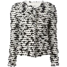 VERONIQUE LEROY frayed edges jacket (€985) ❤ liked on Polyvore featuring outerwear, jackets, blazers, black white jacket, black and white blazer jacket, white and black blazer, white and black blazer jackets and black and white jacket