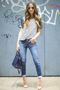Cuffed Skinnies and a Leather Sleeve Tee #DressedUpDenim