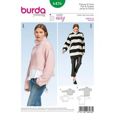 Super-comfortable Misses' pullover tops with a feel good factor. Burda Style sewing pattern.