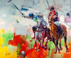 POLO, inch, acrylic on canvas Cycle Painting, Horse Canvas Painting, Figure Painting, Watercolor Artists, Watercolor Paintings, Voka Art, Sports Painting, Acrylic Painting Techniques, Impressionist Paintings