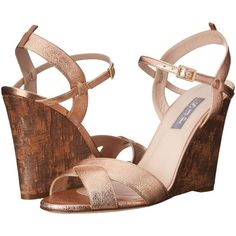 SJP by Sarah Jessica Parker Davies (Merry Go Round Leather) Women's... (3.109.910 IDR) ❤ liked on Polyvore featuring shoes, sandals, gold, leather slip-on shoes, metallic wedge sandals, leather slip on sandals, ankle wrap wedge sandals and leather wedge sandals