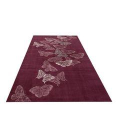 Frisé Teppich Webteppich Schmetterlinge lila Design Carpet bunt modern rosa | eBay
