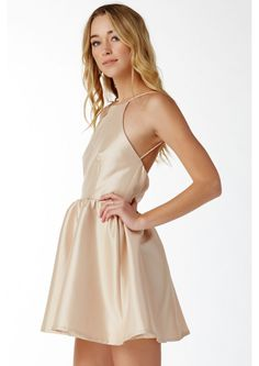 Beauty Defined Halter Dress in Gold | Necessary Clothing