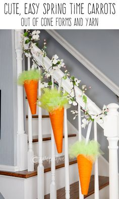 I will show you how to make these cute cone form carrots! Easter decor. Easter banister. spring craft. yarn craft. cone forms and yarn.